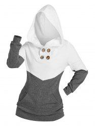 Two Tone Buttons Kangaroo Pocket Hoodie -