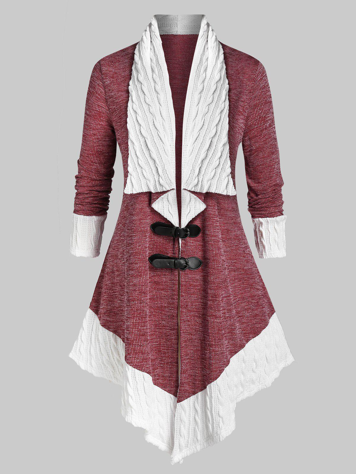 Buy Plus Size Two Tone Buckles Cable Knit Cardigan