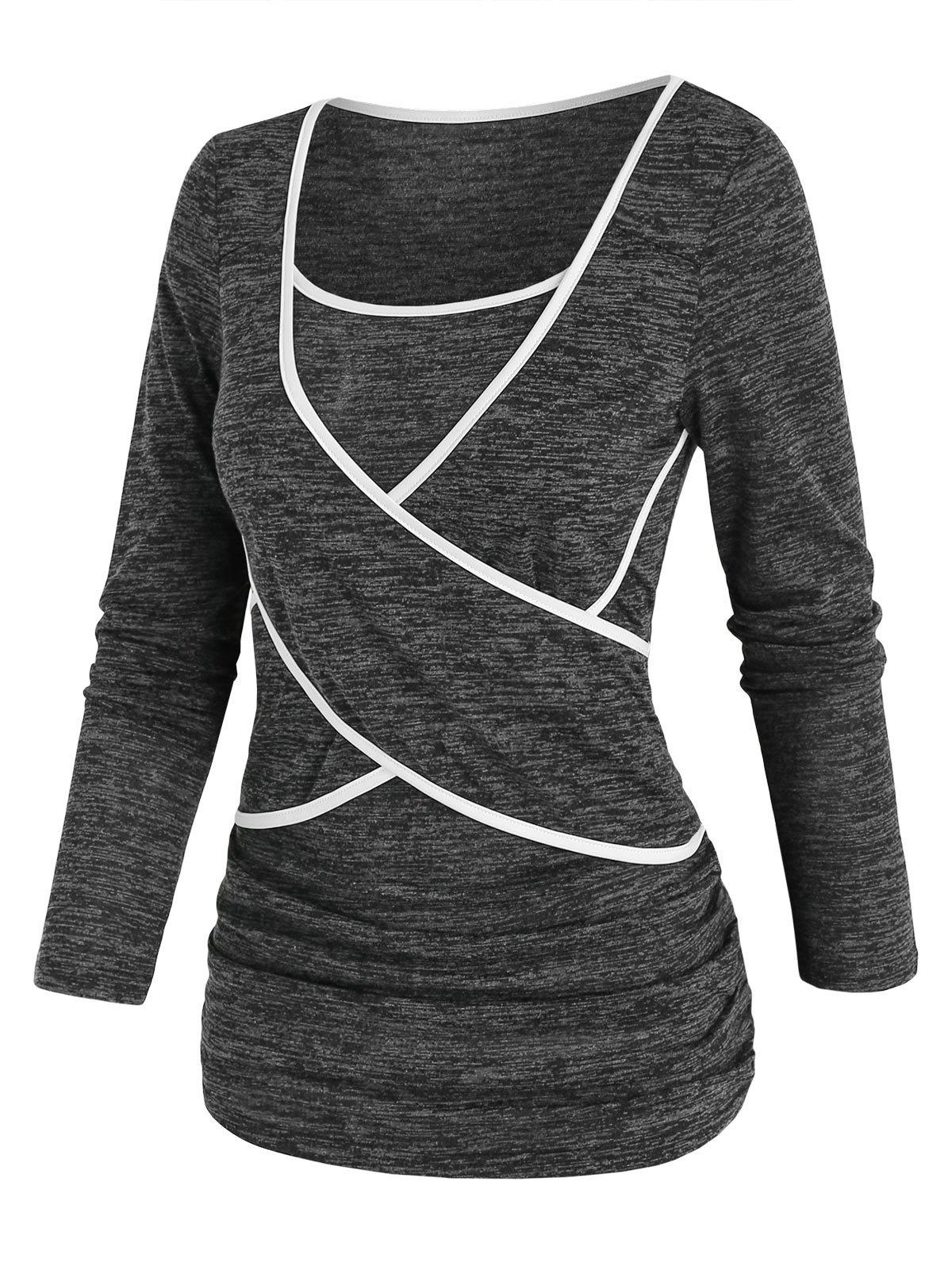 Affordable Two Tone Space Dye Criss Cross T Shirt