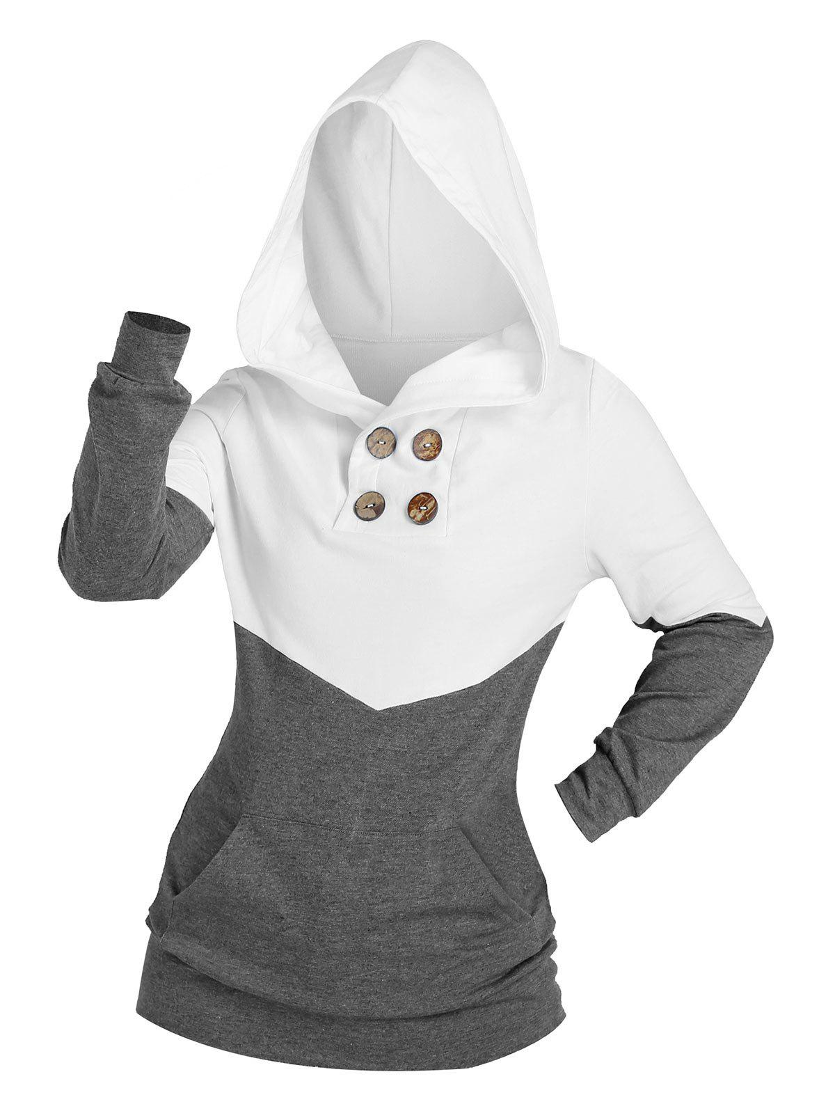 Shops Two Tone Buttons Kangaroo Pocket Hoodie