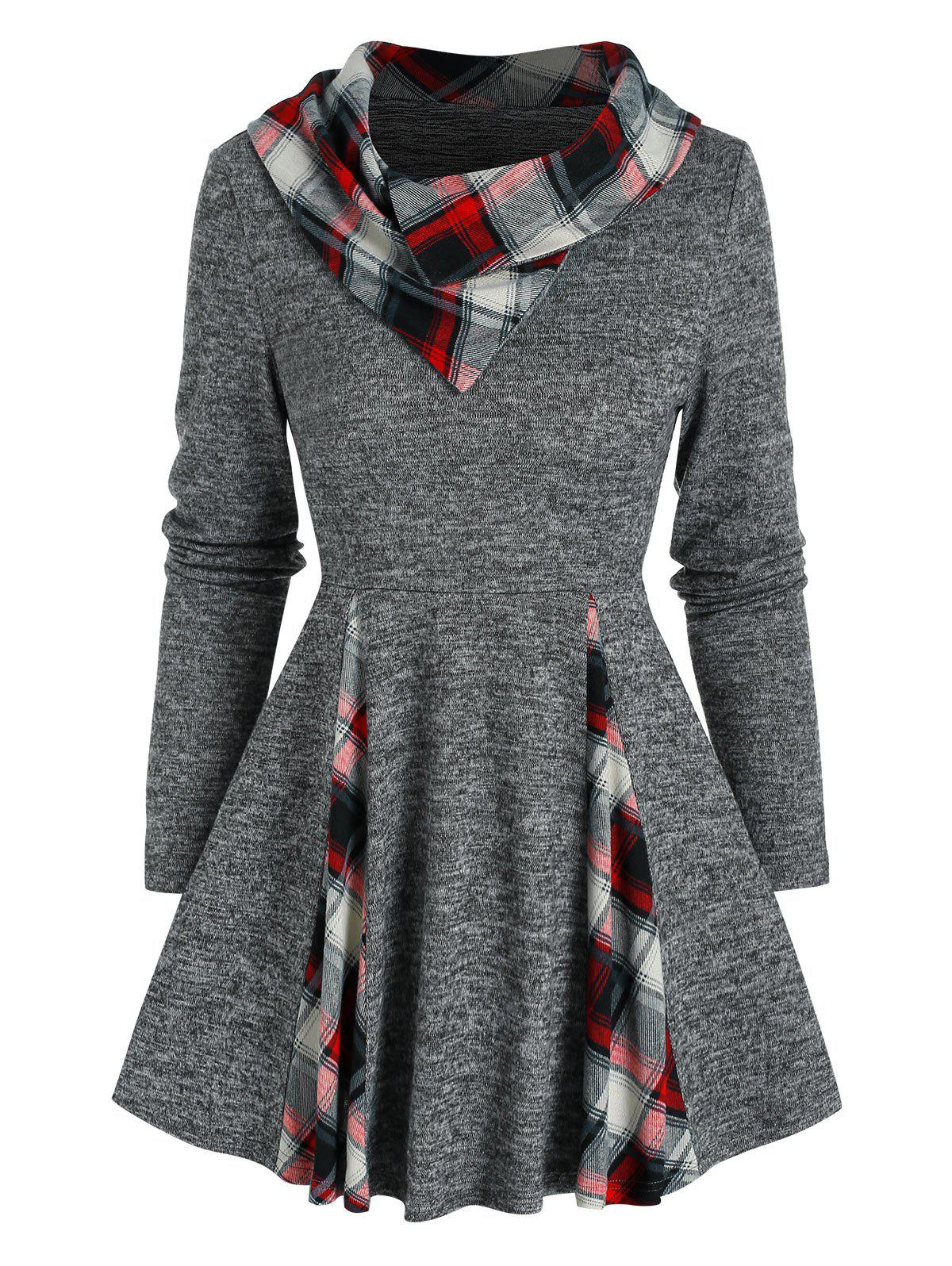 Fancy Plaid Print Heathered Flare Sweater