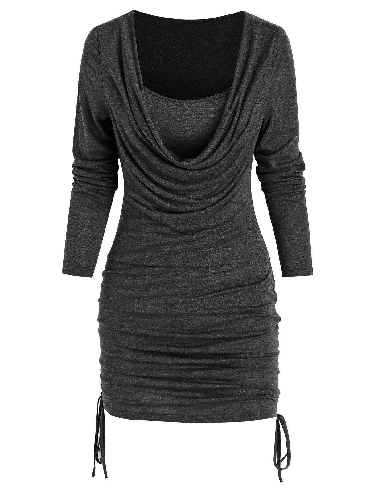 Outfits Cowl Neck Drawstring Bodycon Dress