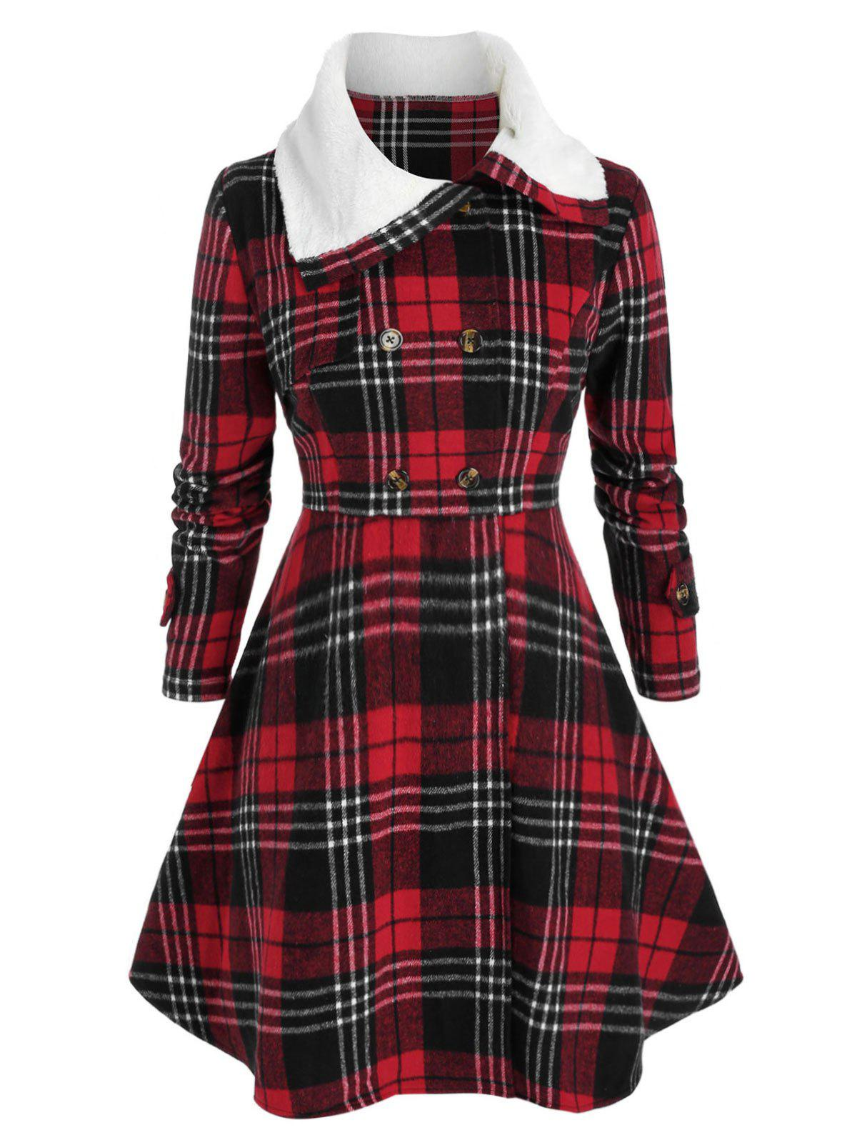 Trendy Plus Size Checked Faux Fur Collar Skirted Tunic Coat