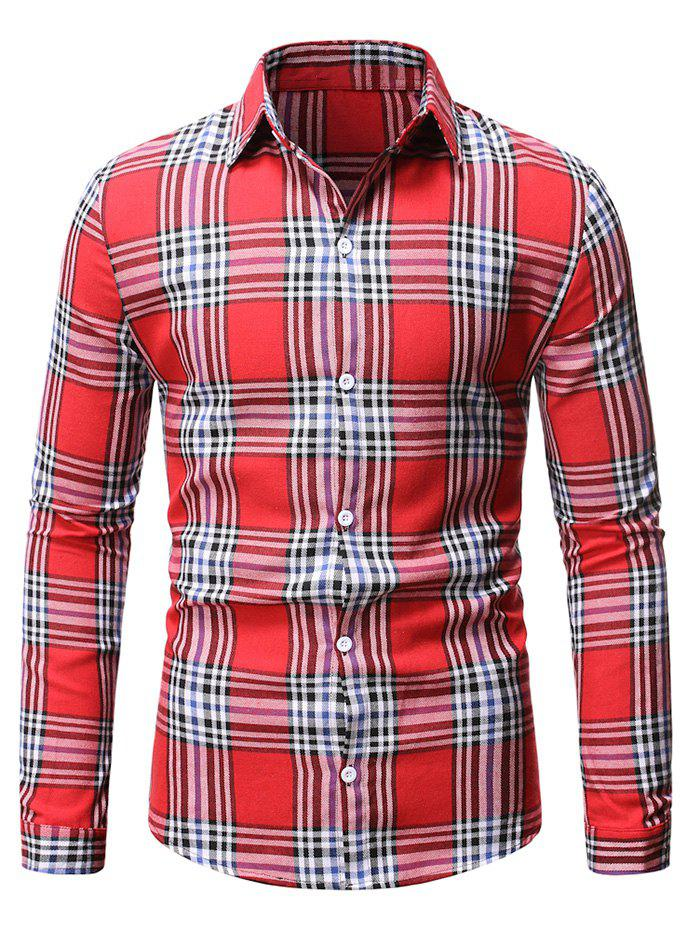 Store Plaid Casual Button Up Long Sleeve Shirt