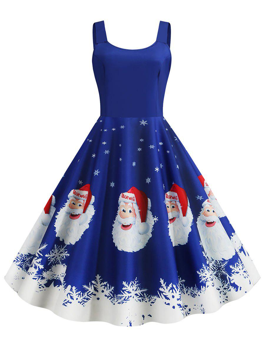 Chic Christmas Santa Claus Snowflake Print Plus Size Dress