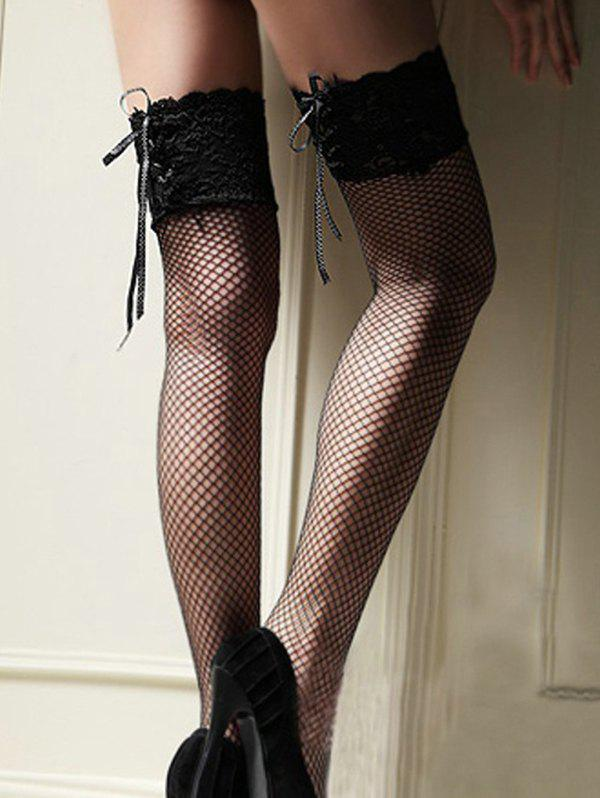 Fancy Lace Up Fishnet Thigh High Stockings