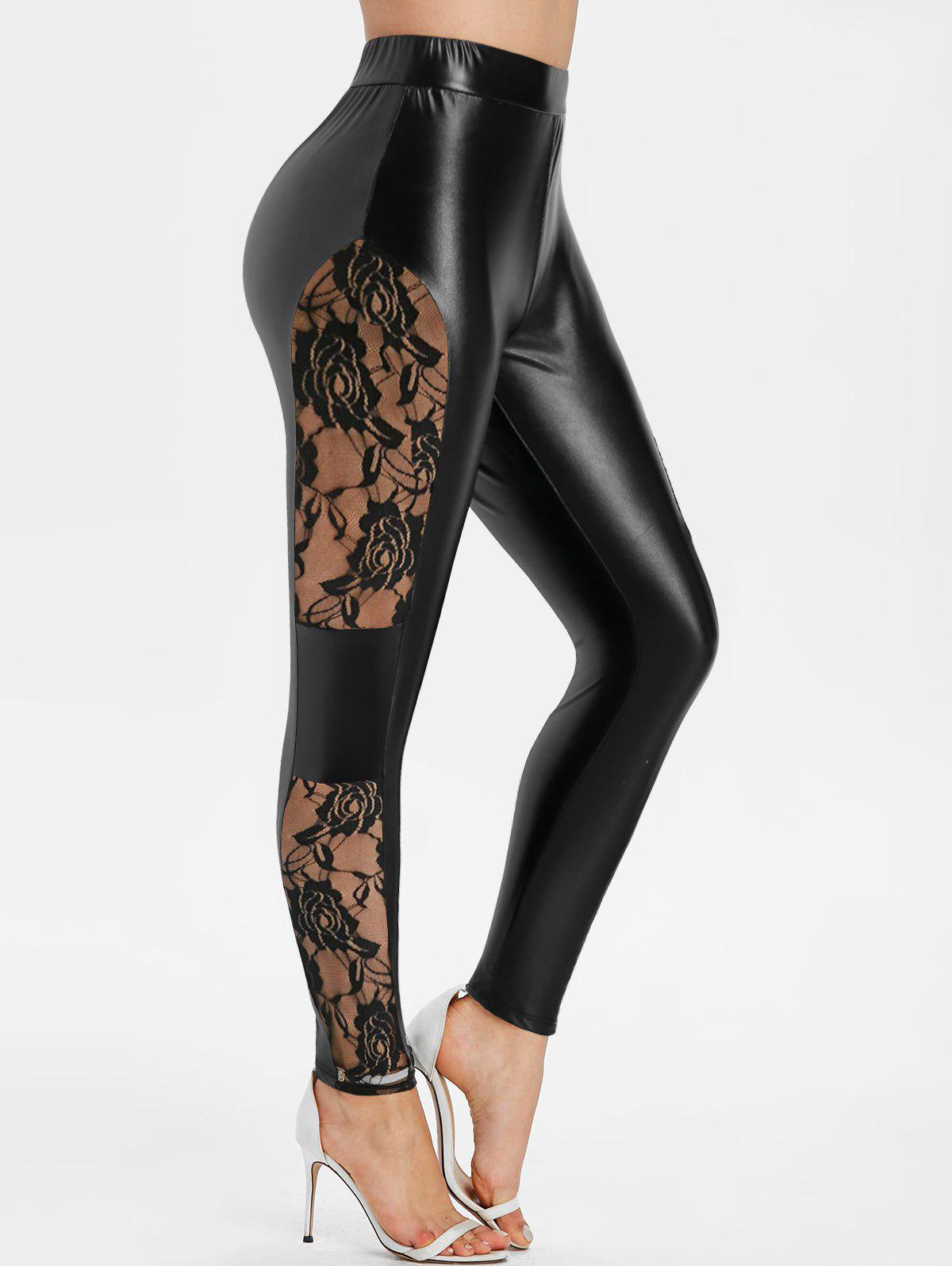 Cheap Lace Panel Faux Leather Skinny Pants