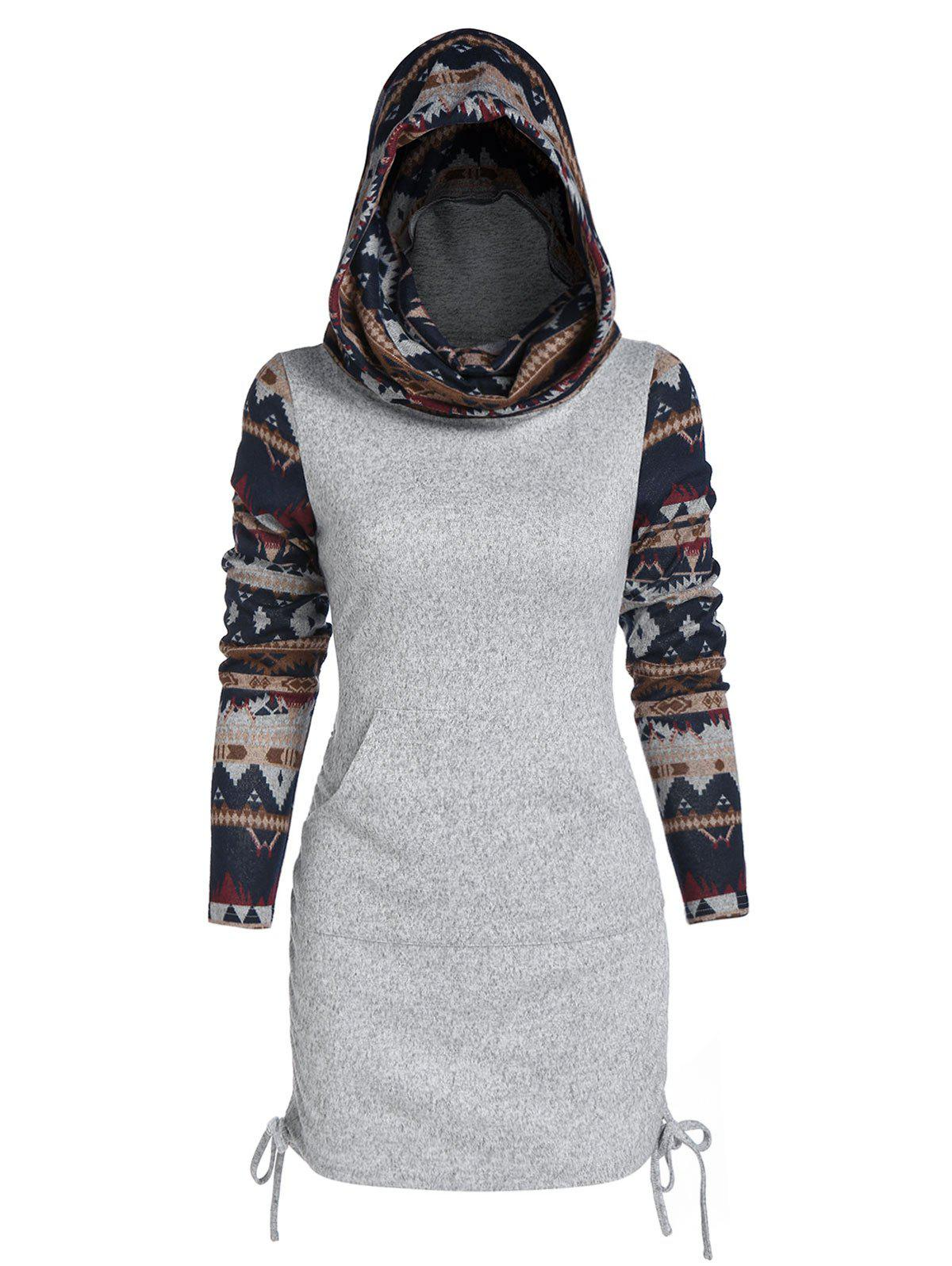 Outfit Tribal Print Cinched Hooded Knitwear