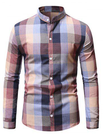 Long Sleeve Plaid Patterned Button Down Shirt - LIGHT PINK - M