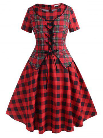 Lace Up Plaid Vest Plus Size Vintage Dress - RED - 3X