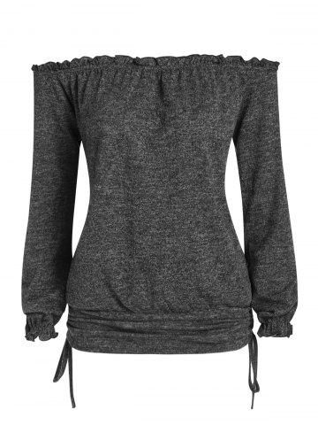 Off The Shoulder Heathered Cinched T Shirt - DARK GRAY - M