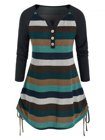 Plus Size Colorblock Striped Side Cinched T Shirt - MULTI - 4X