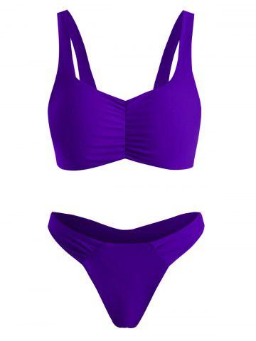 Ruched High Leg Thong Bikini Swimwear - PURPLE - XL