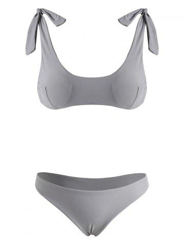 Tie Shoulder Scrunch Butt Bikini Swimwear - LIGHT GRAY - XL