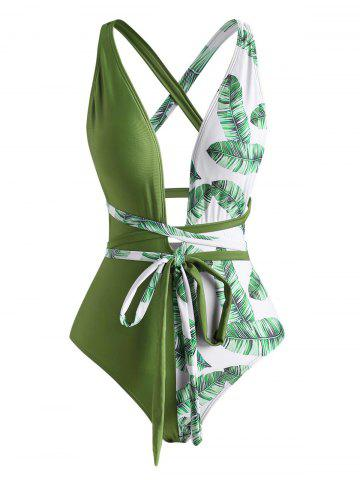 Tropical Leaf Cross One-piece Swimsuit