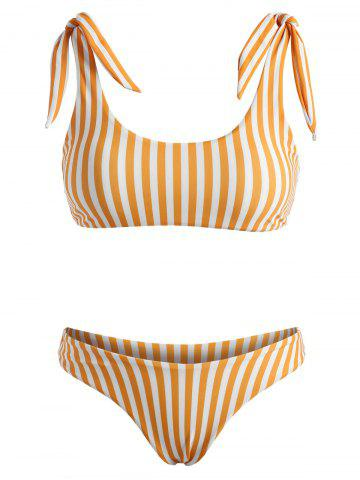 Striped Tie Shoulder High Leg Bikini Swimwear - DARK ORANGE - XL
