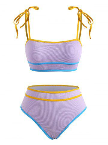Ribbed Tie Shoulder Piping Bikini Swimwear