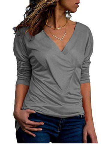 Drop Shoulder V Neck Plain T Shirt - GRAY - XXL