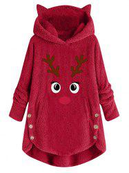 Plus Size Christmas Funny Elk Fluffy Pullover Tunic Hoodie -