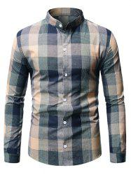 Long Sleeve Plaid Patterned Button Down Shirt -