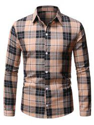 Button Up Plaid Pattern Casual Shirt -