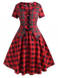 Lace Up Plaid Vest Plus Size Vintage Dress -