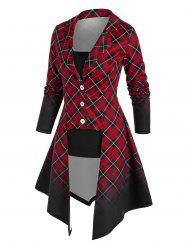Ombre Color Plaid Irregular Coat and Camisole Set -