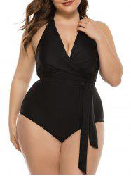 Plus Size Halter Belted Backless One-piece Swimsuit -