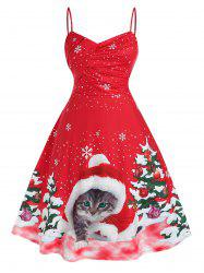 Plus Size Christmas Tree Cat Print Midi Flare Dress -
