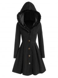 Faux Fur Insert Hooded Skirted Long Wool Coat -