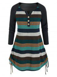 Plus Size Colorblock Striped Side Cinched T Shirt -