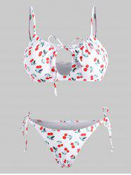 Cherry Print Tie Side Bikini Swimwear -