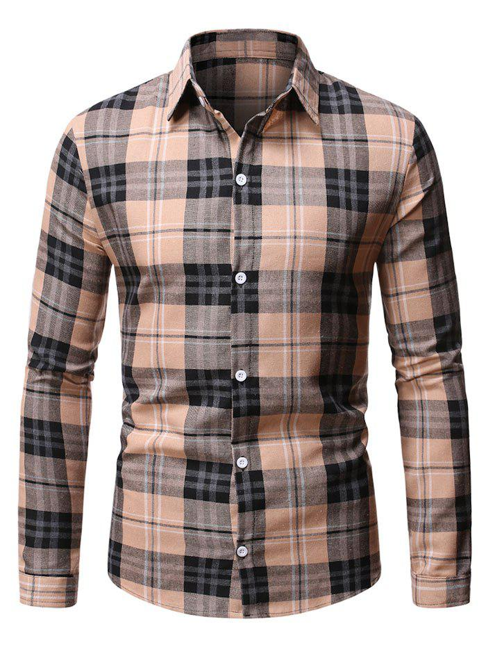 Trendy Button Up Plaid Pattern Casual Shirt