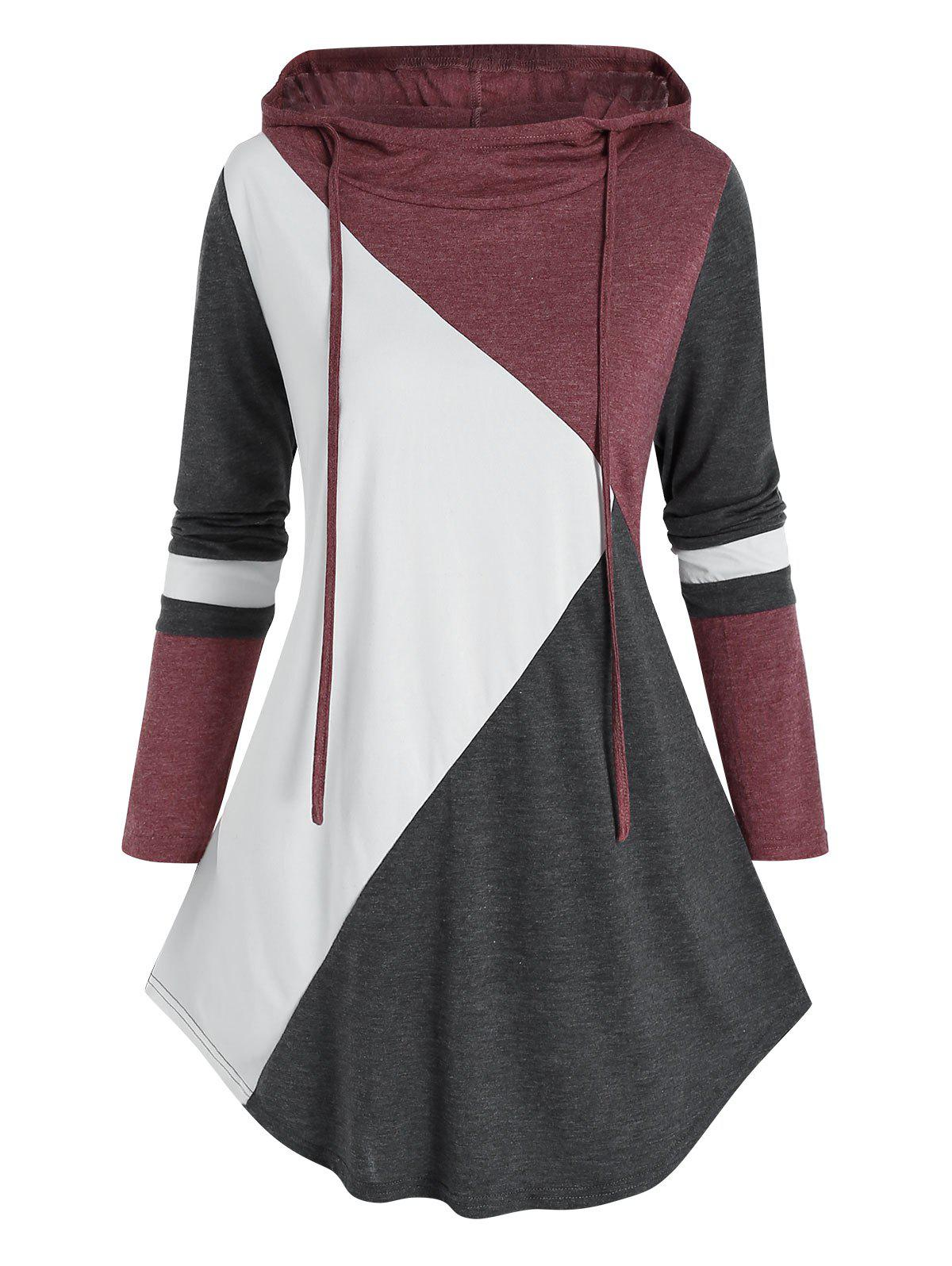 Outfit Plus Size Drawstring Colorblock Hoodie