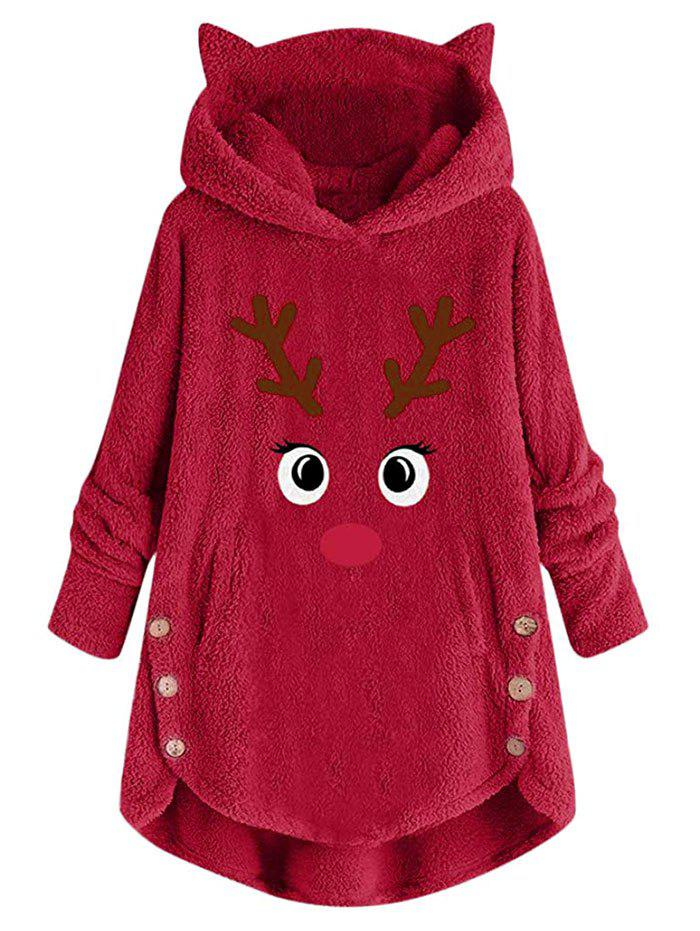 Shop Plus Size Christmas Funny Elk Fluffy Pullover Tunic Hoodie