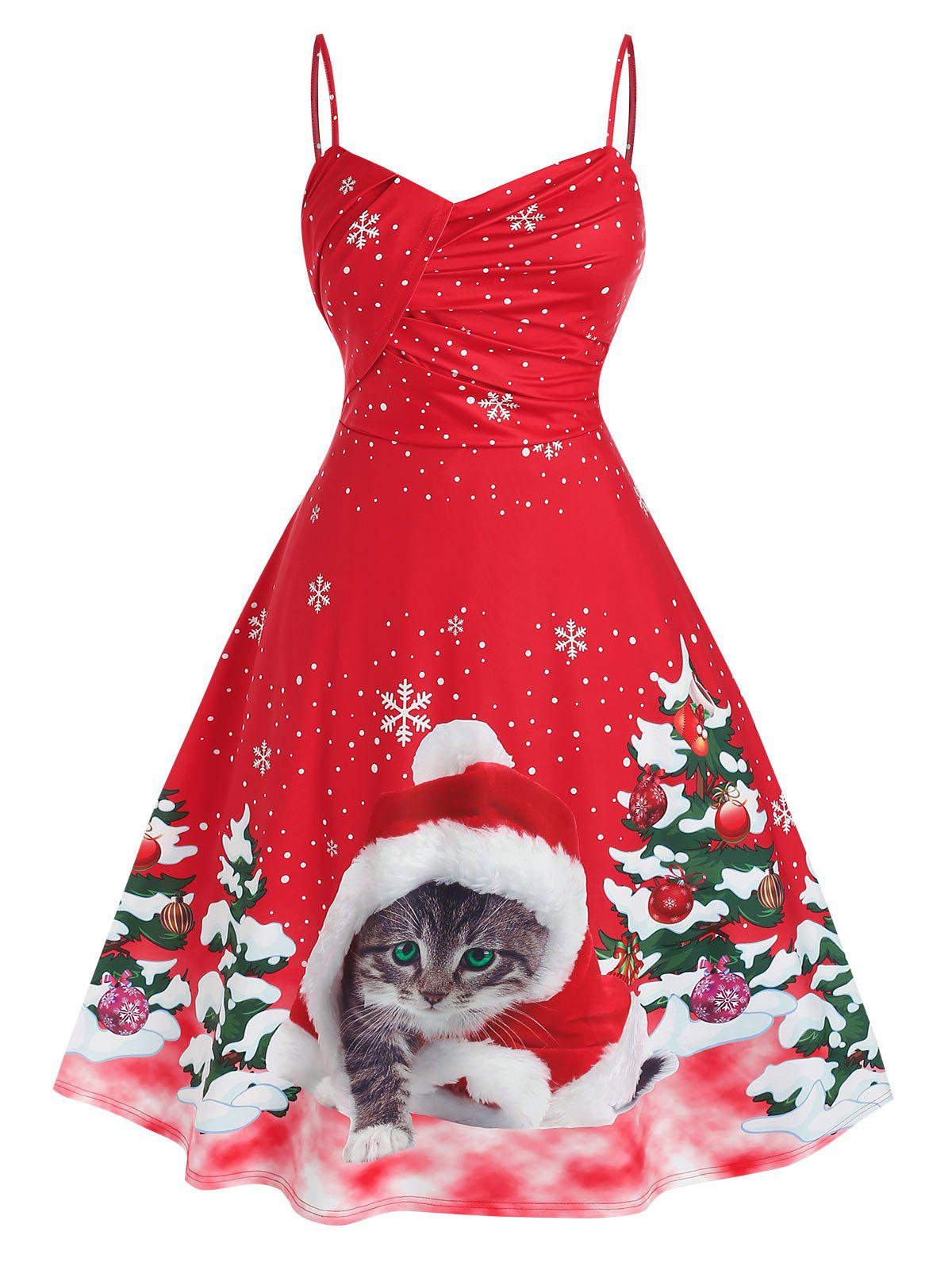 Fashion Plus Size Christmas Tree Cat Print Midi Flare Dress