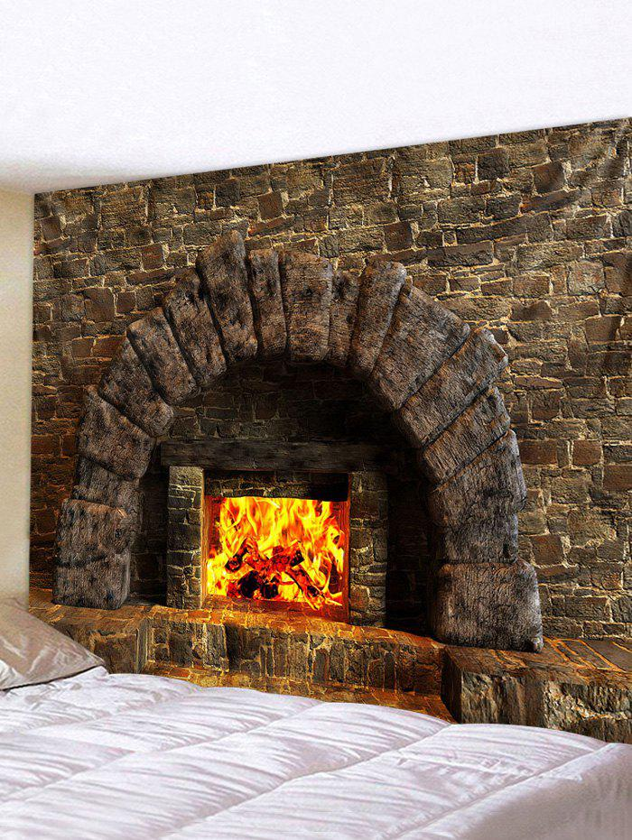 Trendy Fireplace 3D Print Waterproof Wall Tapestry