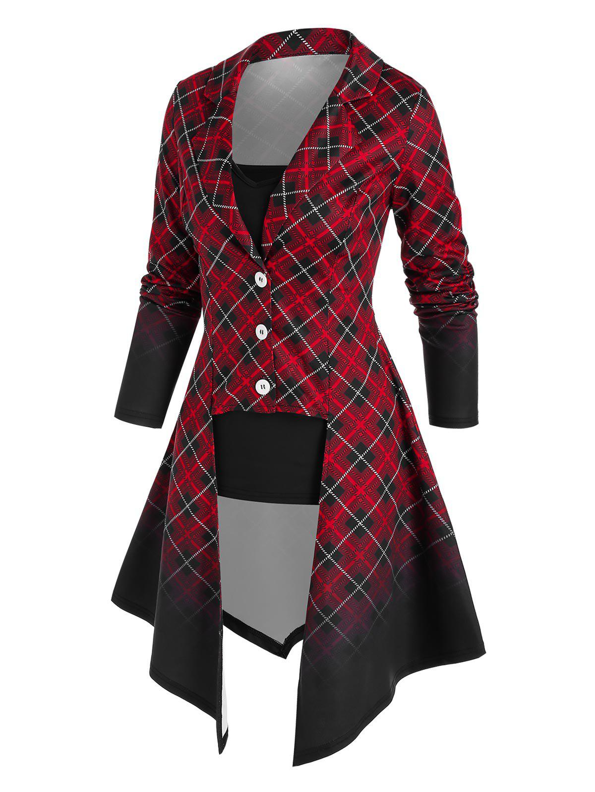 Hot Ombre Color Plaid Irregular Coat and Camisole Set