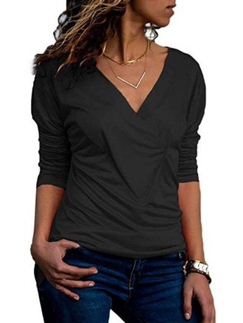 New Drop Shoulder V Neck Plain T Shirt