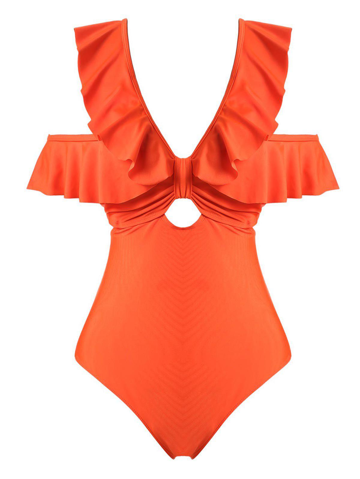 Online Plus Size Ruffle Knot Cutout One-piece Swimsuit