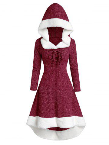 Lace Up Hooded Marled Faux Fur Panel Dress - RED WINE - S