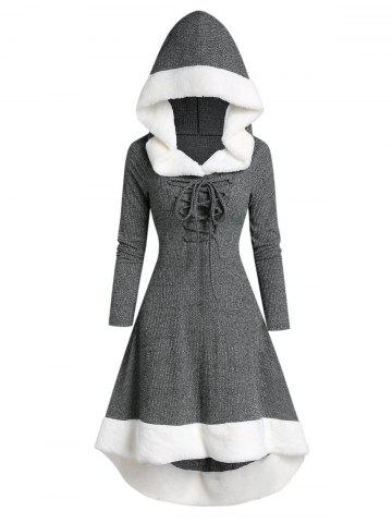 Lace Up Hooded Marled Faux Fur Panel Dress