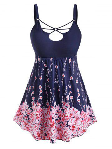 Plus Size Floral Print O Ring Strappy Tankini Swimwear - DEEP BLUE - L