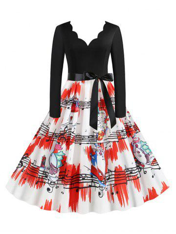 Plus Size Christmas Printed Scalloped Flare Dress
