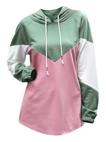 Colorblock Drawstring Raglan Sleeve Hoodie - LIGHT PINK - XL
