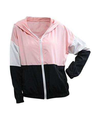 Hooded Colorblock Slip Pockets Windbreaker Jacket