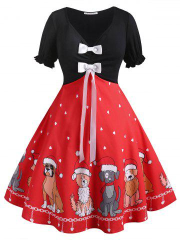 Bowknot Christmas Puppy Dog Heart Plus Size Dress - RED - 2X