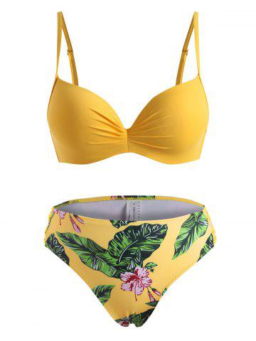 Palm Flower Underwire Ruched Three Piece Bikini Swimwear - YELLOW - 2XL