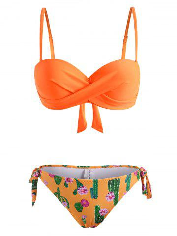 Tie Side Cactus Flower Print Twisted Three Piece Bikini Swimwear - DARK ORANGE - 2XL