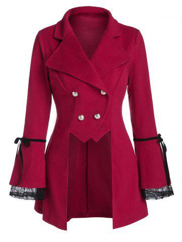Lace Insert Double Breasted Irregular Wool Coat